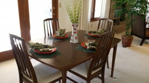Loveland staging - using their dining table.